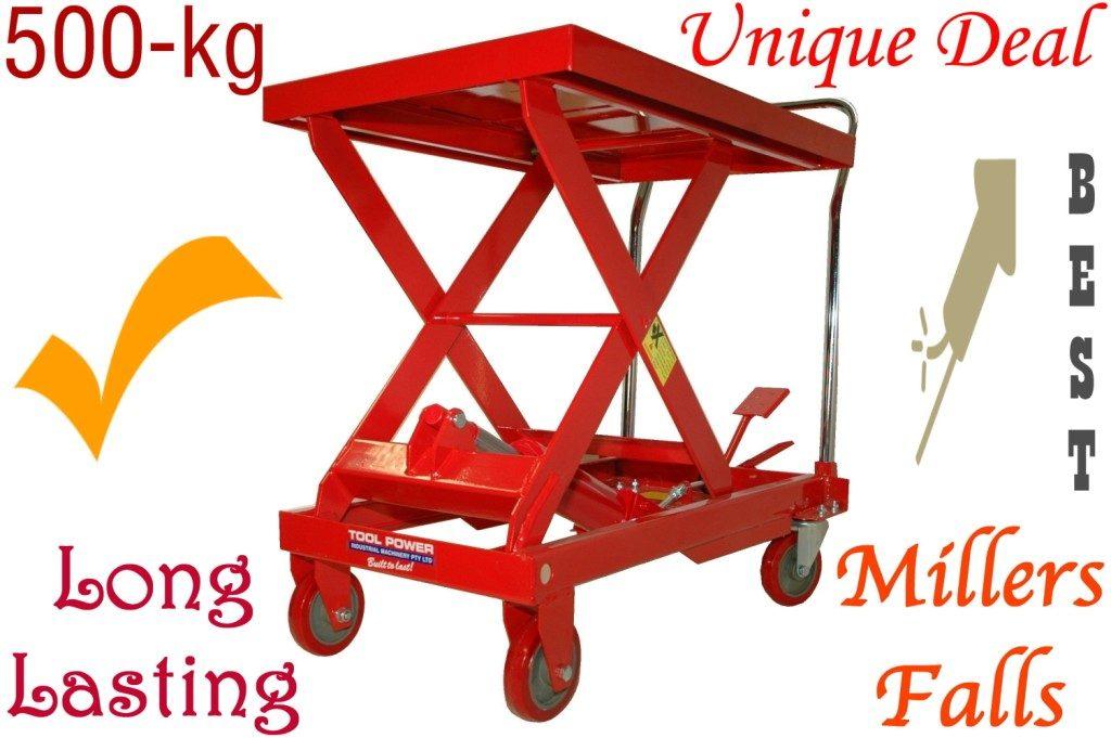 HYDRAULIC LIFT TABLE Millers Falls 500-kg = SAVE BACK with this PLATFORM Trolley