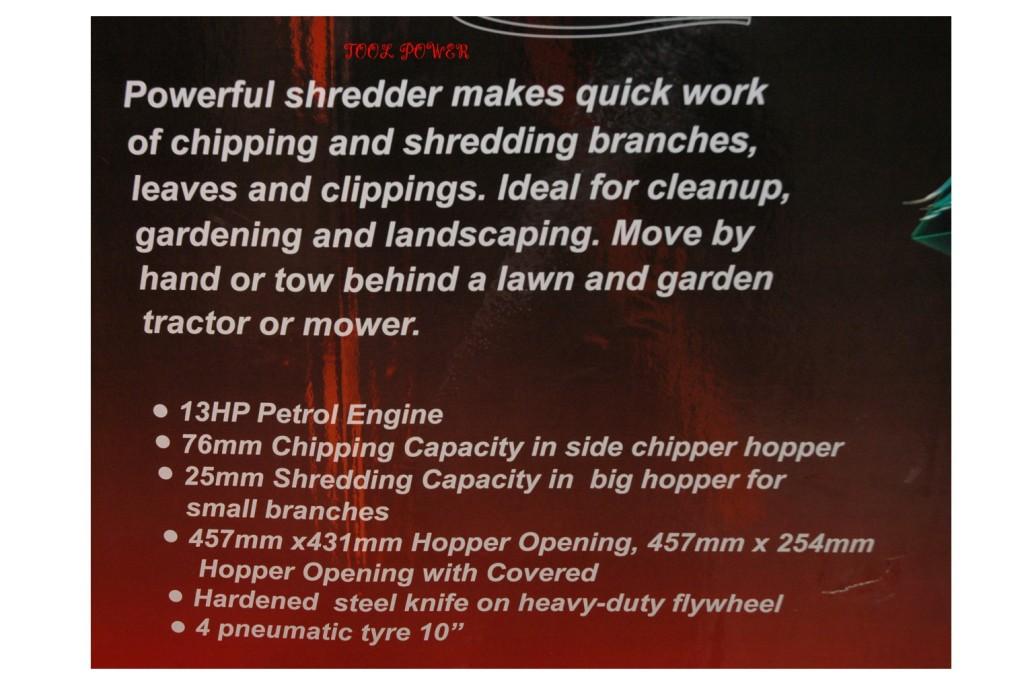 Shredder & Chipper TWM 13-hp 4-wheeler, TOWABLE+++-720