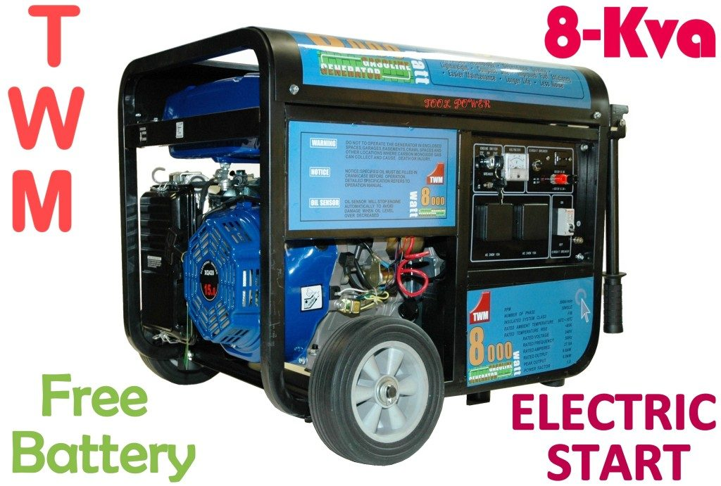 Generator TWM 8kva = 15hp Electric start + Free Battery = Brand New