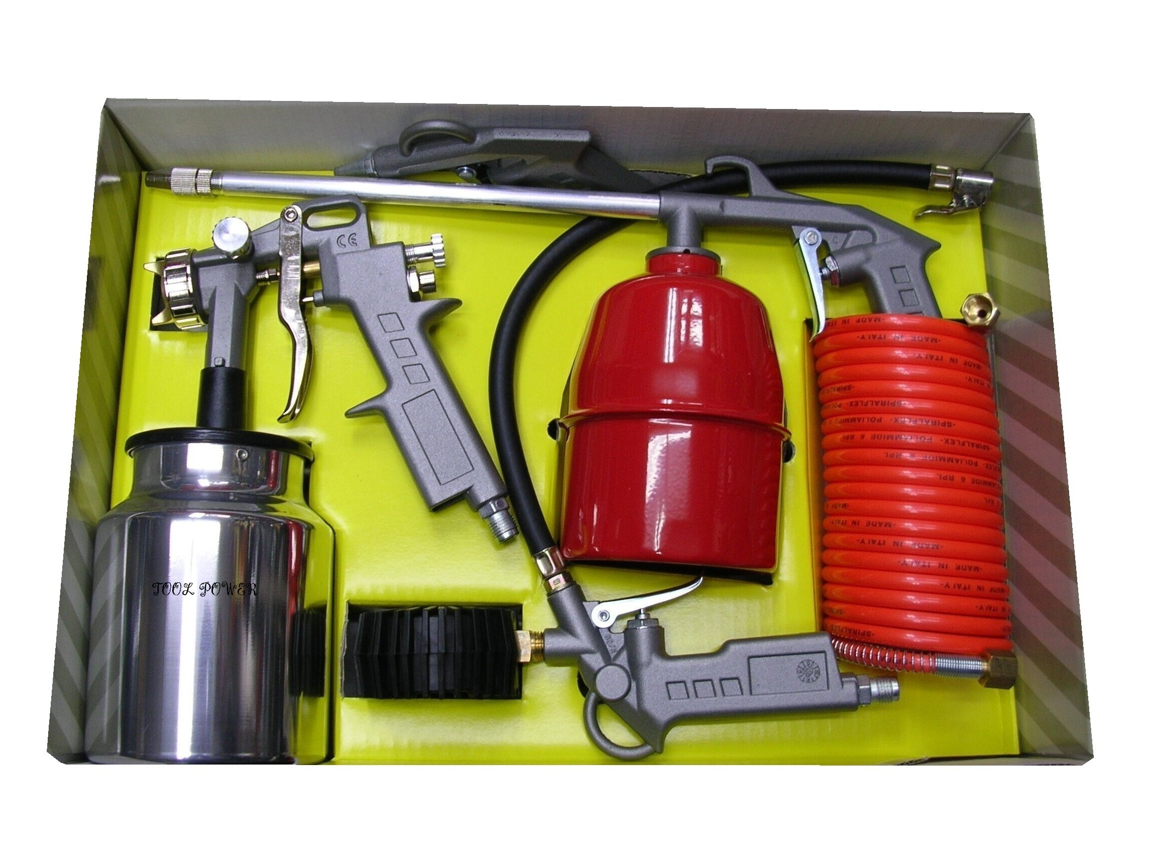 AIRMATE 5-pce KIT Spray, BLOW&kero GUNS + Inflator-854