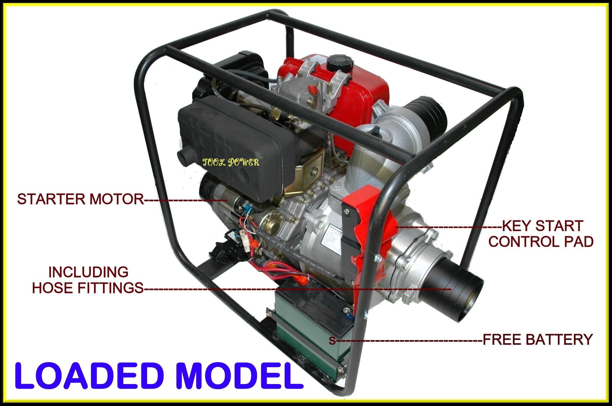 Water Pump TOOL POWER 4'' Diesel Key Start = New**-1461
