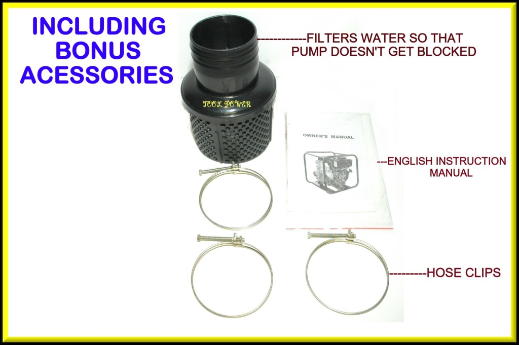 Water Pump TOOL POWER 4'' Diesel Key Start = New**-1145