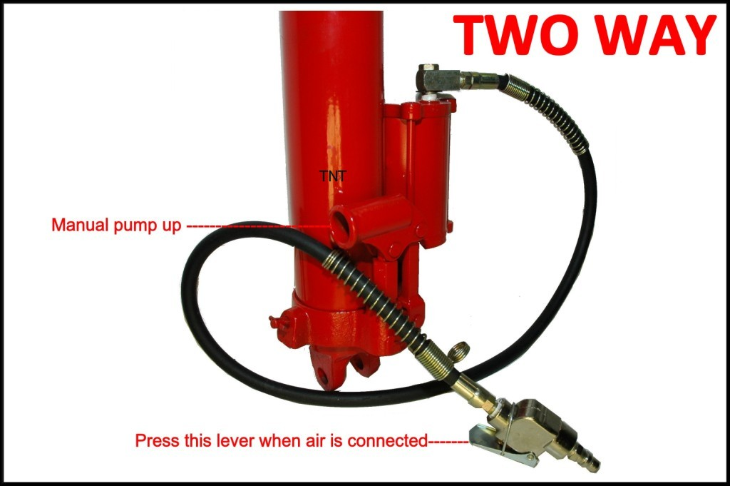 JACK 8-ton MILLERS FALLS, Long ram AIR & HYDRAULIC, Branded item=EXTREME QUALITY-1284
