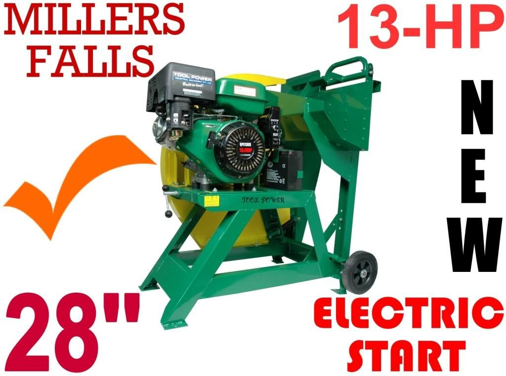 Log Saw 13-hp Electric & pull Start, Millers Falls = Low maintenance type*******