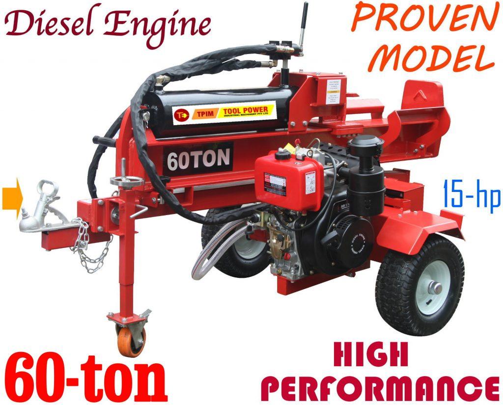 Log splitter TOOL POWER 60-ton, 15-hp Diesel