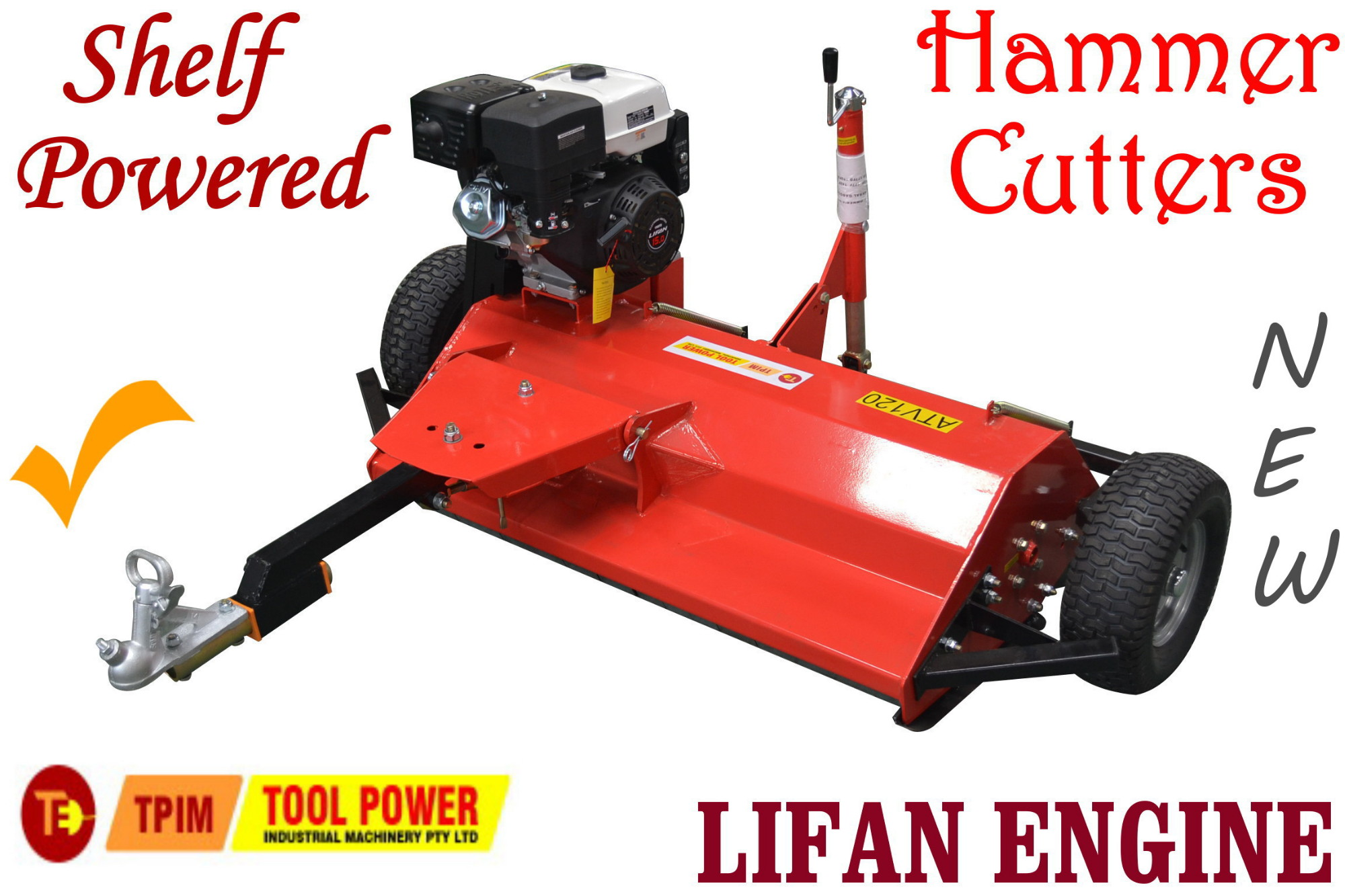 Flail Mower shelf powered ATV 15 hp, Hammer Cutter